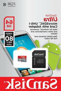 SanDisk 64GB Ultra Micro SD XC Class 10 Memory Card for LG P