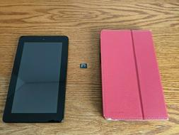 """Amazon Fire 7  7"""" Tablet, 8GB, 16GB micro SD card, Red Case"""