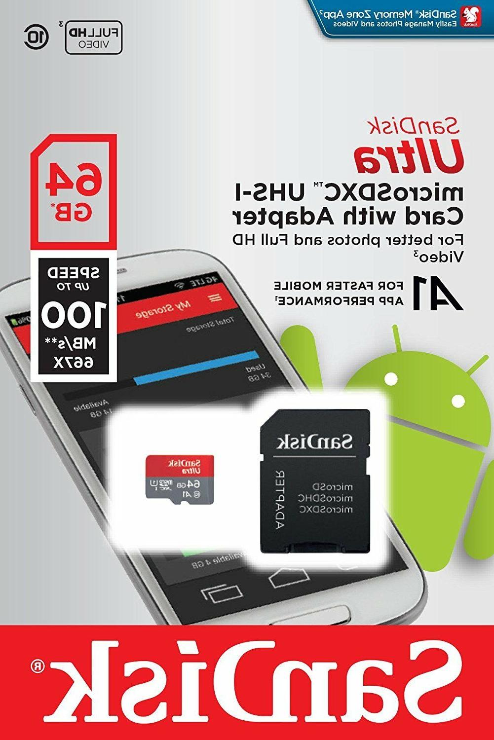 SanDisk 64GB Ultra Micro SD XC Class 10 Memory Card for LG A