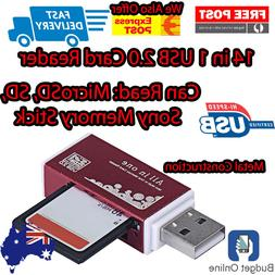 Premium Red All In One 14 in 1 Card Reader ADAPTER Micro SD