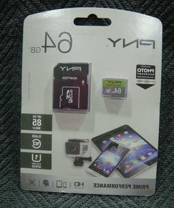 PNY Prime Performance 64GB Micro SD Card With Adapter - NEW